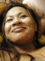 Busty asian amateur fingers her shaved pussy